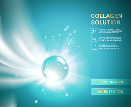 Regenerate cream design and Concept for Skin Care Cosmetic. Vitamin shpere drop over blue background. Beauty treatment skin care design. illustration.  イラスト・ベクター素材