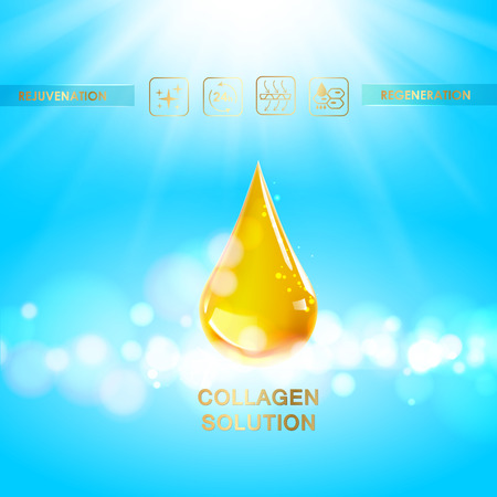 skin oil: Scince illustration of regeneration cream. Organic cosmetic and skin care cream. Blue sky background with oil drop design. illustration.