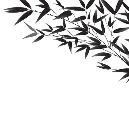 trees silhouette: Decorative bamboo branch isolated on white background.