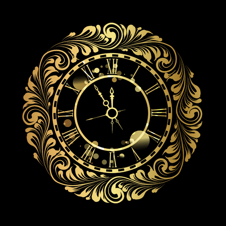Happy new year golden clock over black background. Old clock with roman numbers.