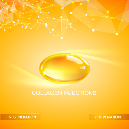glowing skin: Collagen natural product label design for cosmetic surgery. Bright illustration over orange background.