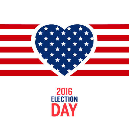 Election day sign. Red white and blue flag lines with heart silhouette.