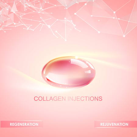 Collagen natural product label design for cosmetic surgery. Bright illustration over pink background. Vectores
