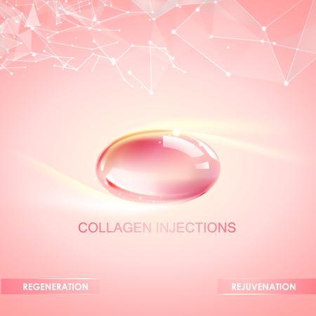 Kolagen naturalny projekt etykiety produktu dla chirurgii plastycznej. Jasna ilustracja na różowym tle.