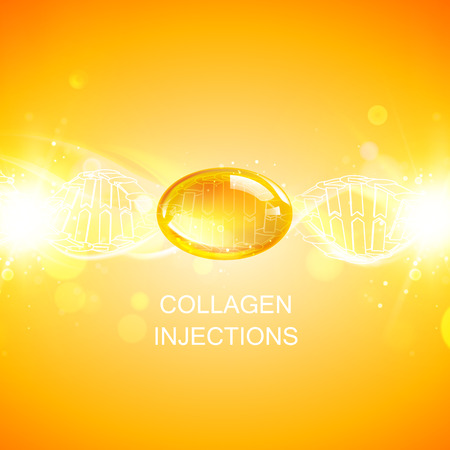 Infographic design for cosmetic surgery. Collagen protein with dna molecule over orange background.