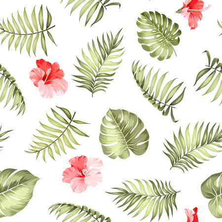 the topical: Topical palm leaves on seamless pattern for fabric texture.