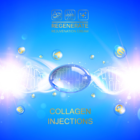 Infographic design for cosmetic surgery. Collagen protein with dna molecule over blue background. Vektorové ilustrace