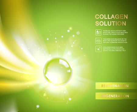 golden hair: Oxygen bubble of hyaluronic acid for moisturizing collagen design.