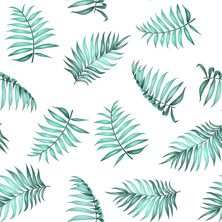 topical: Topical palm leaves on seamless pattern for fabric texture. Vector illustration. Illustration