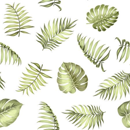 hojas parra: Palma tópico deja en modelo inconsútil de la tela de textura. Ilustración del vector.