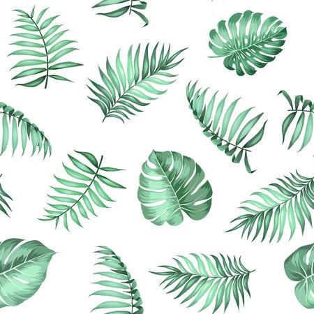 ファブリックのテクスチャのシームレス パターンの局所シュロの葉します。ベクトルの図。  イラスト・ベクター素材
