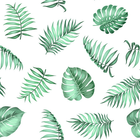 Topical palm leaves on seamless pattern for fabric texture. Vector illustration. Vettoriali