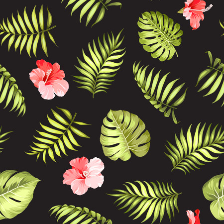 topical: Topical palm leaves and flowers on seamless pattern for fabric texture. Vector illustration.