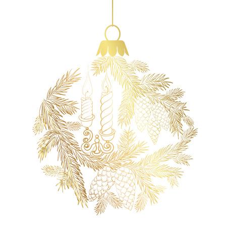 pomme de pin: sphère jouet de Noël avec l'épinette et bougies. Vector illustration. Illustration