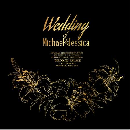 Tarjeta de boda y el anuncio de compromiso, plantilla de la invitación con el texto de oro, lirios en flor sobre fondo negro. Ilustración del vector.