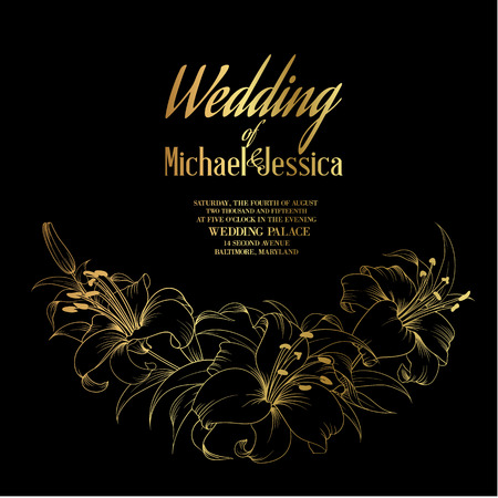 Wedding card en betrokkenheid aankondiging, sjabloon van de uitnodiging met gouden teksten, bloeiende lelies op een zwarte achtergrond. Vector illustratie.