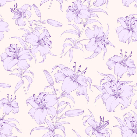 Lily flower seamless pattern with violet lilies over pink background. Floral background in vintage style.