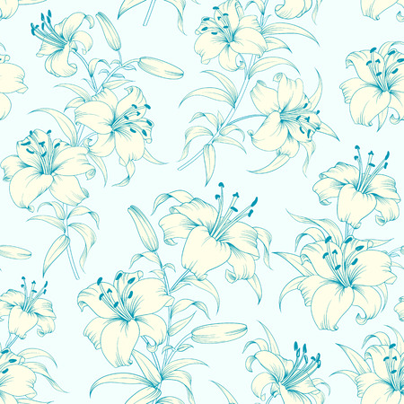 lirio blanco: Modelo inconsútil de la flor del lirio con lirios blancos sobre fondo azul. Fondo floral en estilo vintage.