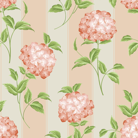 flower head: Pink flowers of hydrangea on seamless background. Mop head hydrangea flower fabric pattern. Vector illustration. Illustration