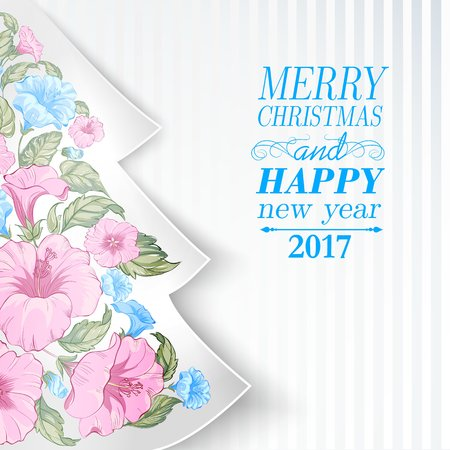 subtropical: Chrismas fir tree with pink tropical flowers inside. Happy new year card design. Vector illustration.