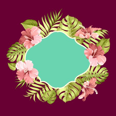 palm wreath: Tropical flower frame with text place for summer vacation text. Tropical leaves and flowers garland. Blossom flowers for invitation card over color background. Vector illustration.