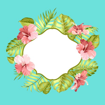 Tropical flower frame with text place for summer vacation text. Tropical leaves and flowers garland. Blossom flowers for invitation card over color background. Vector illustration.