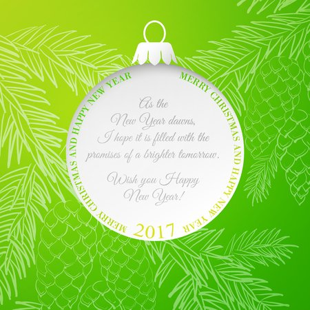 Christmas ball over green background with fir tree. Pinecone and fir toy frame isolated on green background. Vector illustration.