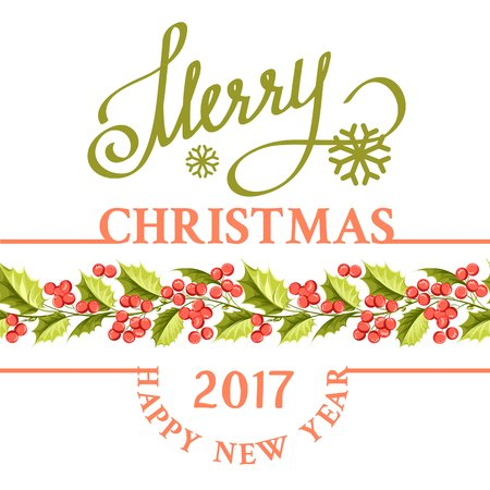 botany: Christmas mistletoe holiday card with text. Happy new year 2017. Christmas flower frame. Gold text typography. Vector illustration. Illustration