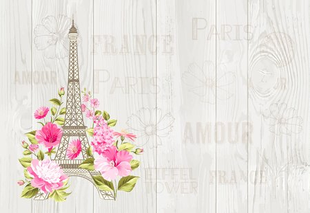 Eiffel tower icon with spring blooming flowers over gray text pattern with sign Paris souvenir. Vector illustration. Stock Illustratie