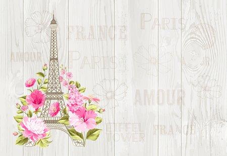 Wieża Eiffla ikona z wiosennych kwiatów kwitnących ponad szary wzór tekstu ze znakiem Paris pamiątkę. ilustracji wektorowych. Ilustracje wektorowe