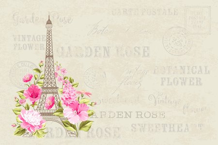 Eiffel tower simbol with spring blooming flowers over gray text pattern with sign Paris souvenir. Vector illustration.