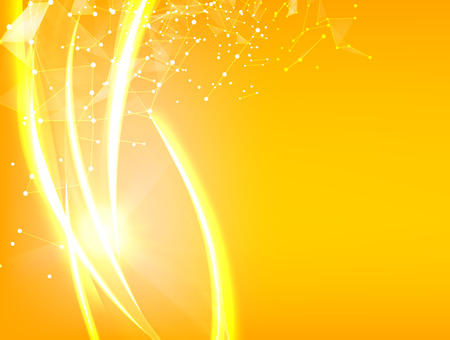 flurry: Abstract particles over orange background with shining sparks. Glow light futuristic background. Shining orange flow. Vector illustration.