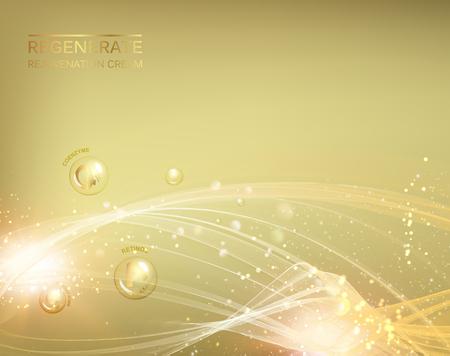 Science illustration of a cream molecule. Regenerate face cream and Vitamin complex concept. Organic cosmetic and skin care cream. Beauty skin care design over golden background. Vector illustration.