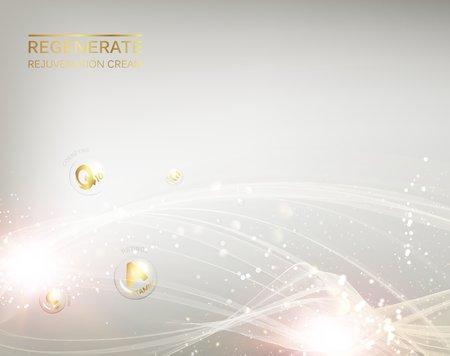 La science illustration d'une molécule de crème. Régénérer crème pour le visage et la vitamine concept complexe. Cosmétique biologique et la crème de soins de la peau. conception de beauté soins de la peau sur fond d'argent. Vector illustration. Banque d'images - 64465231
