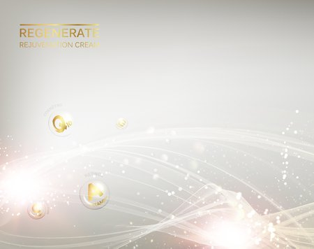 Science illustration of a cream molecule. Regenerate face cream and Vitamin complex concept. Organic cosmetic and skin care cream. Beauty skin care design over silver background. Vector illustration.