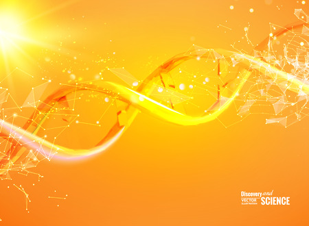 Science template for your card, orange wallpaper or banner with a DNA molecules of polygons. Wire-frame mesh polygonal element. Glow light futuristic background. Vector illustration.