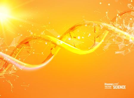 カード、オレンジ色の壁紙、またはポリゴンの DNA 分子とバナーの科学テンプレートです。ワイヤー フレーム メッシュ多角形要素。輝き光の未来的  イラスト・ベクター素材