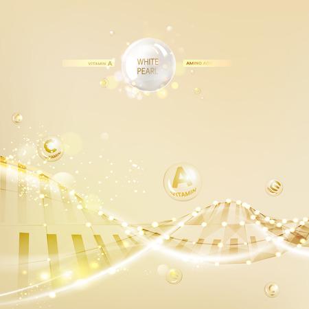 コンセプト肌ケア化粧品です。クリームとビタミンの背景を再生成します。ポリゴンの DNA 分子とセピア色のバナーです。ベクトルの図。  イラスト・ベクター素材
