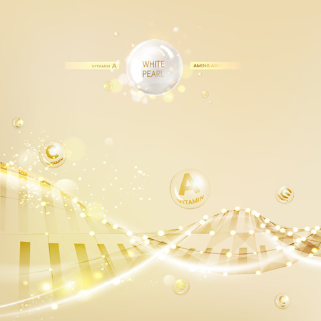 Concept Skin Care Cosmetic. Regenerate cream and Vitamin Background. Sepia banner with a DNA molecule of polygons. Vector illustration.