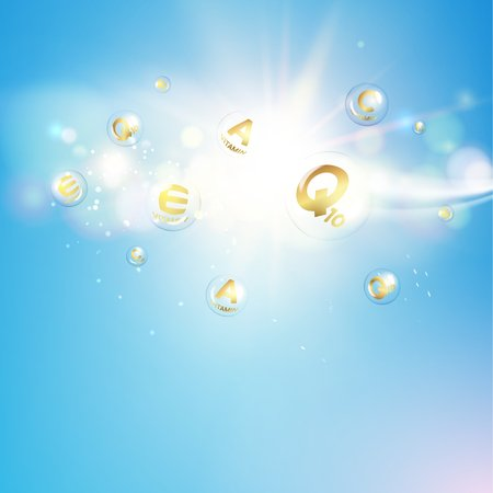 Skin care concept. UV Protection and whitening cream. Golden bubbles with vitamin letters over blue sky background. Vector illustration.