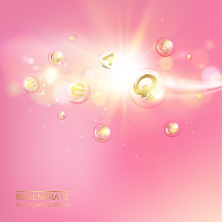 Collagen natural product label design for cosmetic surgery. Bright illustration over pink background. Golden bubbles with vitamin letters over pink shining background. Vector illustration.