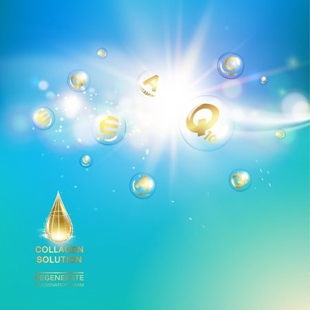 rejuvenation: Skin care concept. UV Protection and whitening cream. Golden bubbles with vitamin letters over blue sky background. Vector illustration.