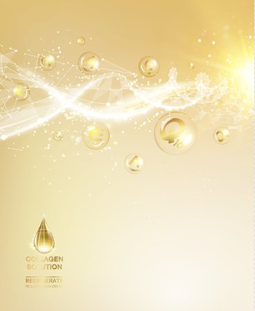 Scince illustration of a DNA molecule. Organic cosmetic and skin care cream. Skin care concept. UV Protection and whitening cream. Golden bubbles with letters over shining background. Vettoriali