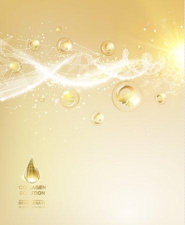 Scince Illustration eines DNA-Moleküls. Organische Kosmetik- und Hautpflegecreme. Hautpflege-Konzept. UV-Schutz und Whitening Creme. Goldene Blasen mit Briefen über glänzenden Hintergrund. Standard-Bild - 64465911