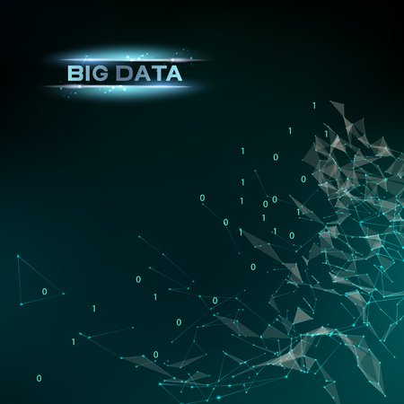 infomation: Computer technology and Big Data. Abstract infomation design code in futuristic style. Industrial modern screen. Digital cyber design over dak blue background. Vector illustration. Illustration