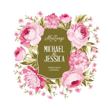 Wedding card met bloeiende bloemen geïsoleerd op een witte achtergrond. Grens van roze bloemen in vintage stijl. Huwelijk uitnodigingskaart van kleur bloemen. Vector illustratie.