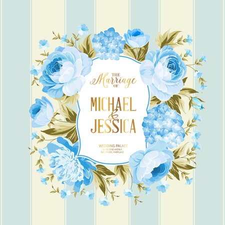 The marriage card. Wedding invitation card template. Border of blue flowers in vintage style. Marriage invitation card with custom sign and flower frame over tile blue background. Vector illustration. Vettoriali