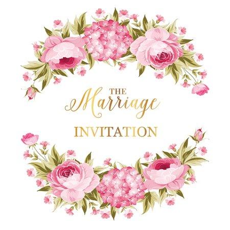 結婚招待状。ホリデー カードの牡丹のガーランド。Avesome 花輪バラ ホワイト バック グラウンドを分離しました。ベクトルの図。