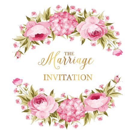 Marriage invitation card. Peony garland for holiday card. Avesome flower garland with roses isolated over white background. Vector illustration.