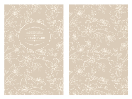 spring flower: Avesome design for you personal cover. Spring sakura flowers. Floral theme for book cover. Flower texture illustration in style of engraving. Vector illustration.